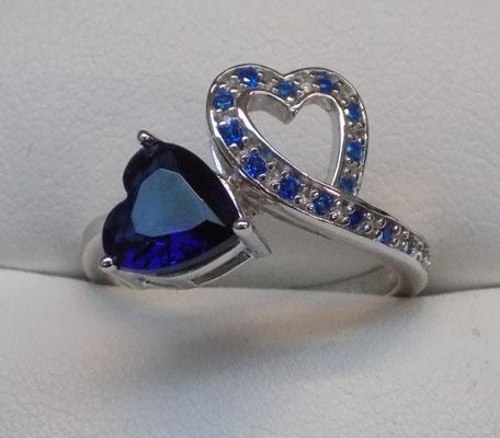 925 silver sapphire double heart ring, size O