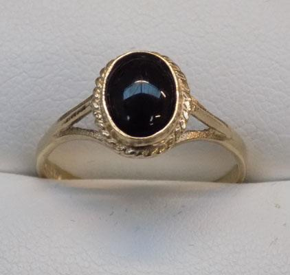 9ct gold duel black onyx ring, size O1/2