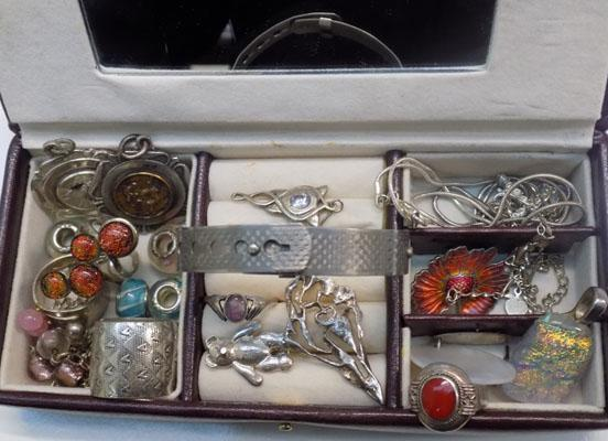 Selection of silver and white metal jewellery