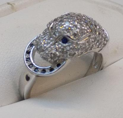 925 silver white & topaz panther's head ring, size M