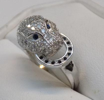 925 silver, white & topaz panther's head ring, size S