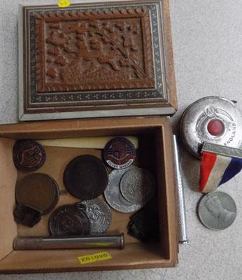 Inlaid jewellery box containing badges, medals and coins