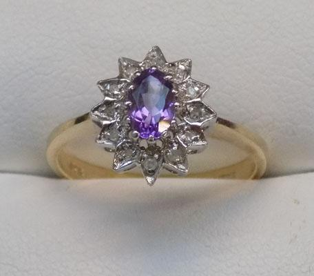 9ct gold amethyst & diamond cluster ring, size N