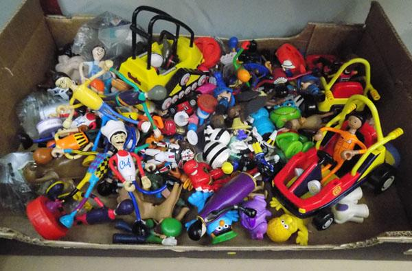 Box of toy figures
