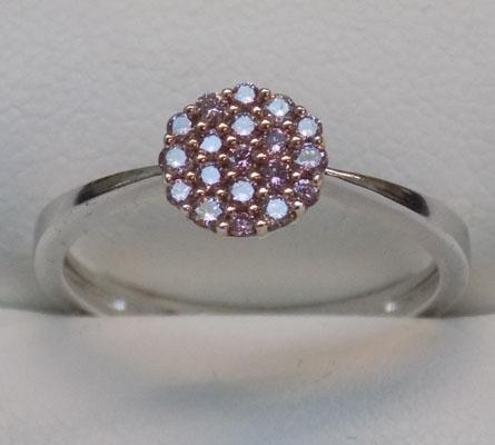 9ct white gold & pink diamond cluster ring, size N1/2
