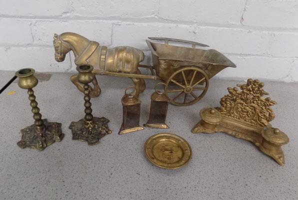 Collection of brass items including Shire horse and cart