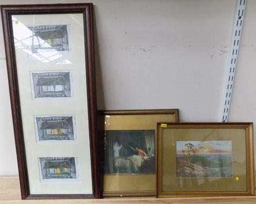 2 Gold mounted pictures and 1 other