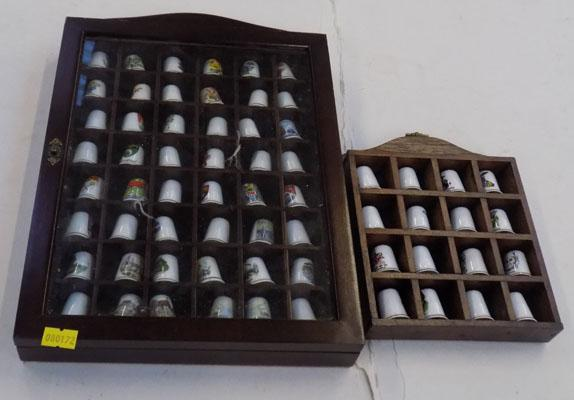 Large collection of thimbles & two racks/cabinets