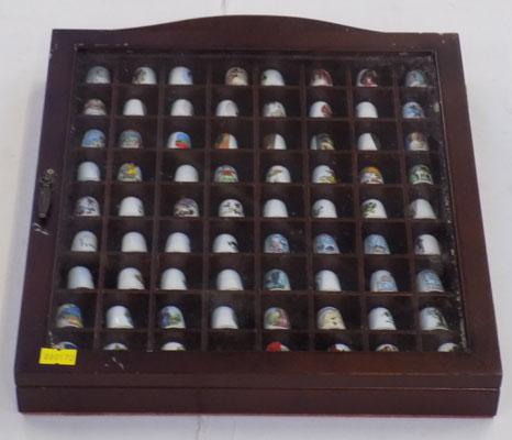 Large collection of thimbles + glass cabinet