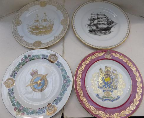 Four Spode plates, Cutty Sark & Mayflower, RAF & Royal Anniversary plates