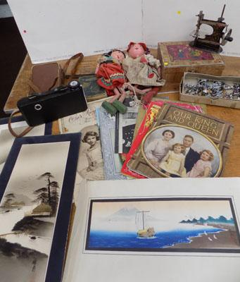 Selection of collectables - incl. white metal soldiers, old camera, puppets, Royal Ephemera