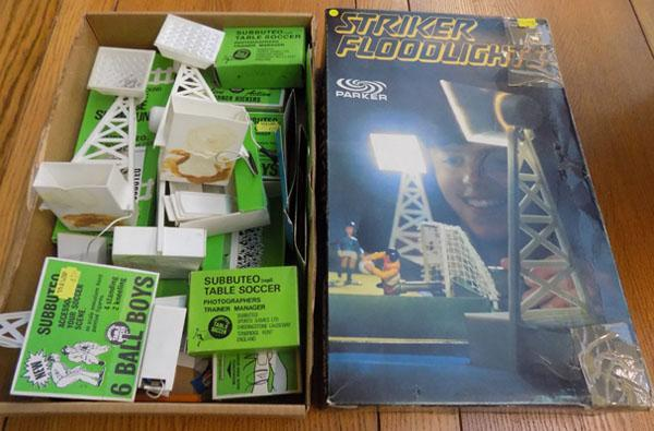 Strike floodlights and empty Subbuteo boxes