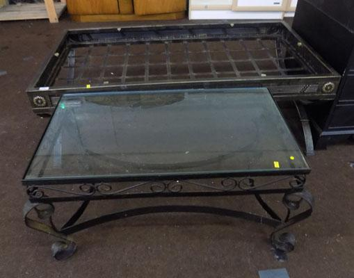 Two coffee tables, 1 requires top glass
