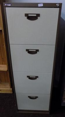 Set of brown & beige metal filing cabinets (with key)