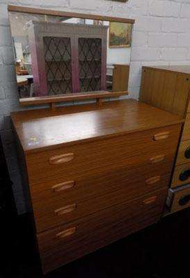 Mirror backed chest of drawers