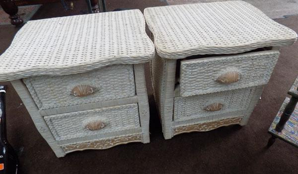 Pair of wicker bedside cabinets