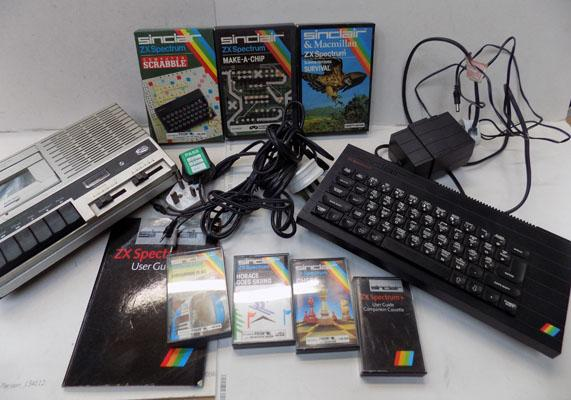 Sinclair ZX Spectrum in W/O & tape recorder, leads & games: Horace goes Skiing, Survival, Scrabble, Make a Chip, Chequered Flag, Chess, Companion user guide cassette