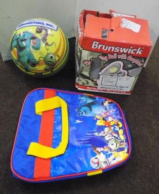 Monsters inc. bowlin ball, undrilled and bag