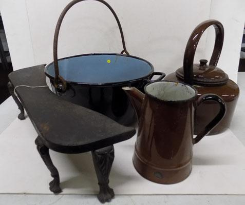 Selection of enamelware and fire front