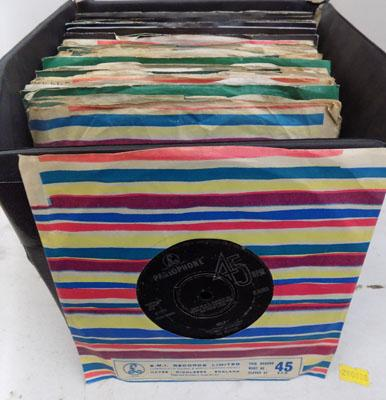 Box of First Press Beatles & related singles