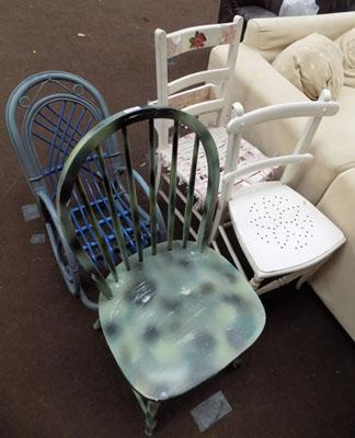 4 Assorted chairs inc childs rocker & Bible backed chair