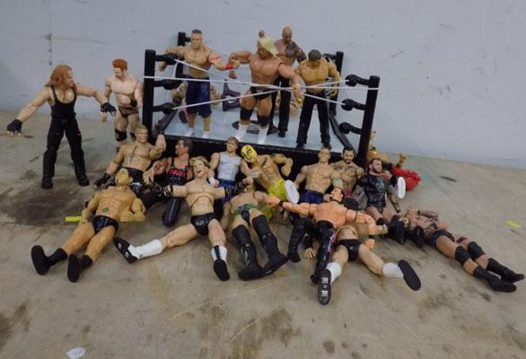 WWE ring with figures