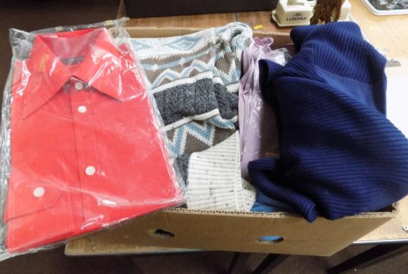 Box of jumpers & shirts