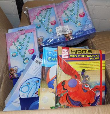 Box of new items inc Frozen jewellery sets & kids books