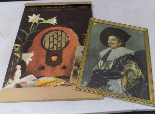 1975 vintage Golden Jubilee boxed calendar & 'Laughing Cavalier' picture