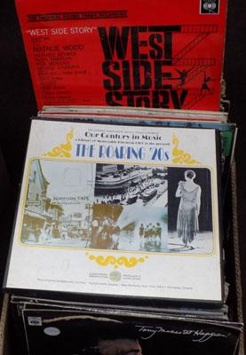 Box of LPs, incl. Westside Story