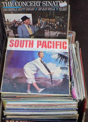 Box of LPs, incl. South Pacific