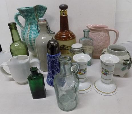 Selection of pottery and vintage bottles