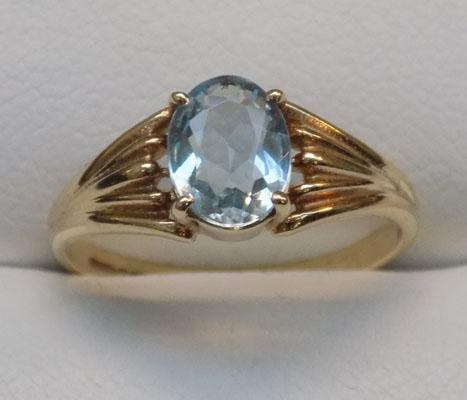 9ct gold aquamarine solitaire ring, size N