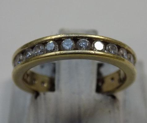 Gold on silver, full eternity ring - size approx. I