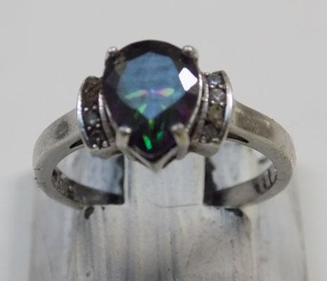 Sterling 925 silver mystic topaz ring - size approx. O