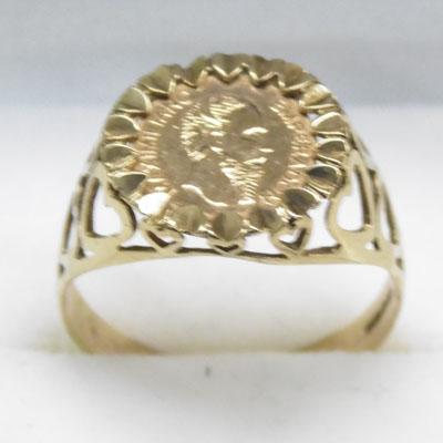 9ct Gold ring set with Mexican gold coin size R