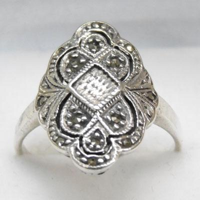 925 Silver & Marcasite ring size T1/2