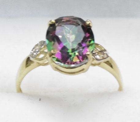 9ct Gold diamond & Mystic Topaz ring size N