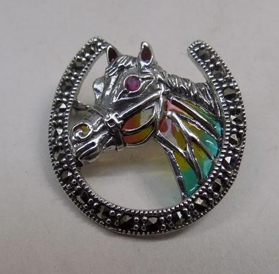 Silver and marcasite horse brooch