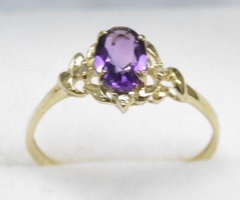 9ct Gold diamond & Amethyst ring size O