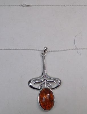 Art noveau silver and amber pendant on silver chain