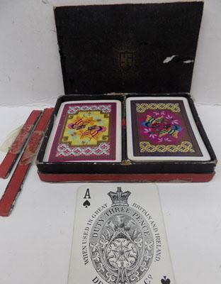 Vintage Delarue playing cards with Swastika on case - in used condition, case needs attention
