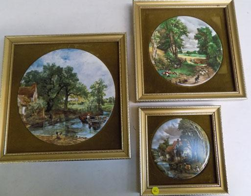 3 Framed ceramic discs from Constable series