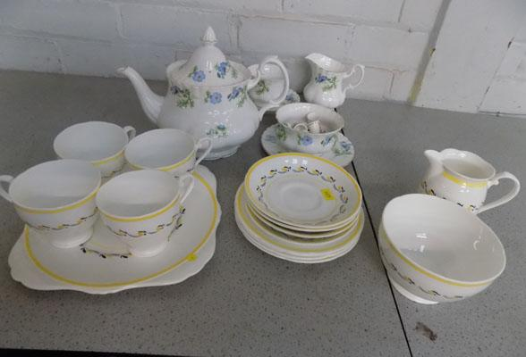 Tray of ceramics, 4 trios of Royal Grafton, cake plate, milk & sugar dishes +  other, incl. teapot