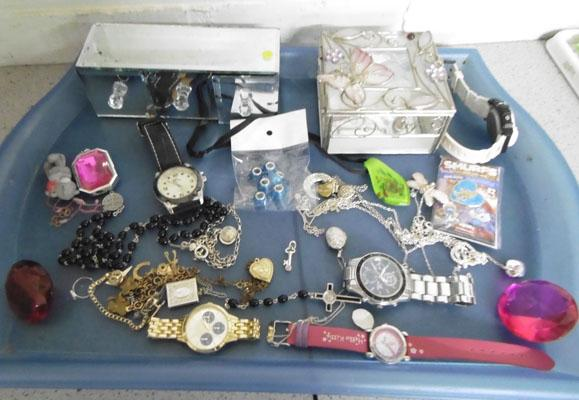 Trinket boxes incl. watches, jewellery