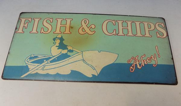 "Fish & Chips metal sign - 10.5"" x 5"""