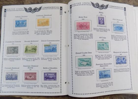 Printed album of USA stamps from 1870s