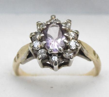9ct Gold Amethyst cluster ring, head set in silver size M
