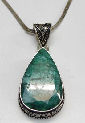 925 Silver necklace with large Emerald pendant