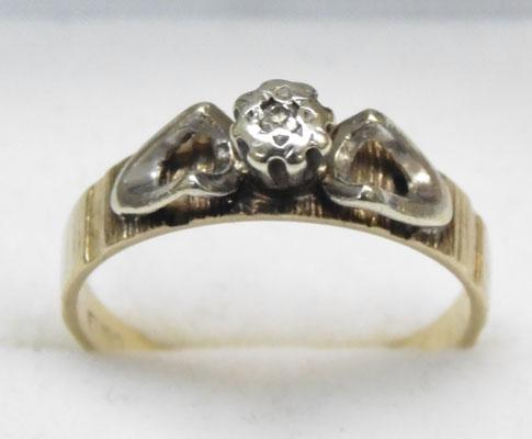 9ct Yellow & white gold diamond solitaire ring size N1/2